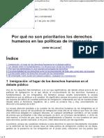 DE LUCAS - Por qué no son prioritarios los DDHH...