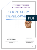 Curriculum Planning PBBSc second year mental health nursing