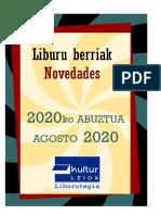 2020ko abuztuko liburu berriak -- Novedades de agosto del 2020