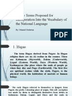 Ifugao Terms Proposed for Incorporation Into the Vocabulary