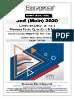 JEE Main 2020 April-September Attempt Shift - 1 (03rd September, 2020) Physics