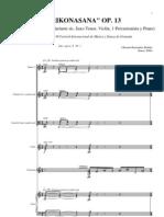 Trikonasana (2000) para flauta, clarinete, saxofón tenor, violín, violonchelo, percusión y piano