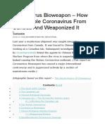 How China Stolen Canada Coronavirus Bioweapon