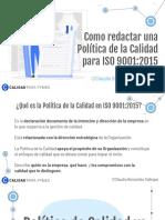 COMO redactar una POLITICA DE CALIDAD ISO 9001