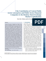 Study of the Contribution of Central Public Sector Enterprises and Public Sector Financial Companies to the Bombay Stock Exchange Market Capitalization