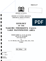 Geology of Nakuru - Thompson falls area
