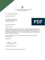 Carta de Renuncia de Juan Ernesto Dávila