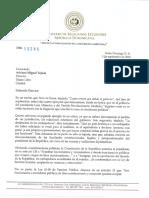 Comunicación al señor Adriano Miguel Tejada del Canciller de la República