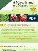 Marco Island Farmers Market COVID-19 Safety Protocol Presentation - Sept. 9, 2020