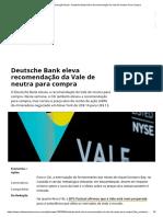 Notícias de Mineração Brasil - Deutsche Bank Eleva Recomendação Da Vale De Neutra Para Compra