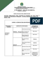 Resultado preliminar - Análise documental - 1ª chamada - Edital 63-2020.pdf