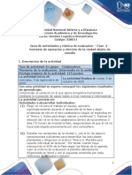 Guía de actividades y rúbrica de evaluación - Unidad 1 - Fase 2 - Contexto de operación y elección de la ciudad objeto de estudio