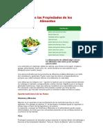 Tabla de las Propiedades de los Alimentos