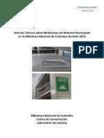 2016 Informe sobre material particulado en Biblioteca Nacional de Colombia