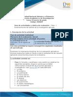 Guia de actividades y rúbrica de evaluación - Fase 1 - Reconocer el sentido de la investigación aplicada