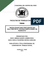 MODALIDADES MAS FRECUENTES DE BULLYING EN EL COLEGIO SANTA ISABEL