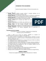 DIFERENTES TIPOS DE ENERGIA