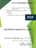 Lecture 12- Mass Balance Approach