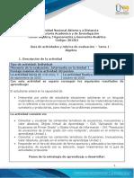 Guía de actividades y rúbrica de evaluación - Unidad 1 - Tarea 1 - Algebra