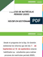 MATRICULAS ESPECIALIZACION 10Z