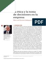 Aálisis de artículo. La  ètica y toma de decisiones