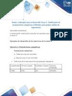 Ejemplos para el desarrollo Tarea 3 - Clasificación de proposiciones categóricas y Métodos para probar validez de argumentos
