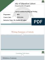 Academic Reading & Writing- Writing Summary Of Article