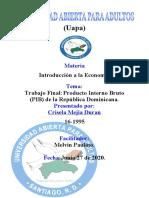 Trabajo Final Producto Interno Bruto PIB de la República Dominicana