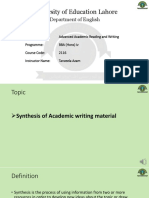 Academic reading & Writing - Synthesis of Academic writing material