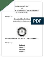 Sem 5- Juris Project- Criminal Law Amendment & Theories of Punishment