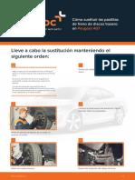 Cómo sustituir las pastillas de freno de discos trasero en Peugeot 407