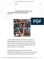 Concepto de fuerza y tipos de fuerza en el entrenamiento muscular, deportivo