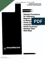 AWS A4.2 Standard procedures for calibrating magnetics instruments for measure delta ferric content (1993)