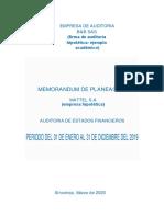 Modelo de Planeación de Auditoría 2020