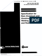 AWS A5.10 Specification for bare aluminum and aluminum alloy welding electrodes and rods (1999)