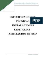 ESPECIFICACIONES TECNICAS INSTALACIONES SANITARIAS-4PISO