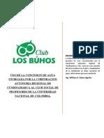 USO DE LA CONCESION DE AGUA OTORGADA POR LA CORPORACION AUTONOMA REGIONAL DE CUNDINAMARCA AL CLUB SOCIAL DE PROFESORES DE LA UNIVERSIDAD NACIONAL
