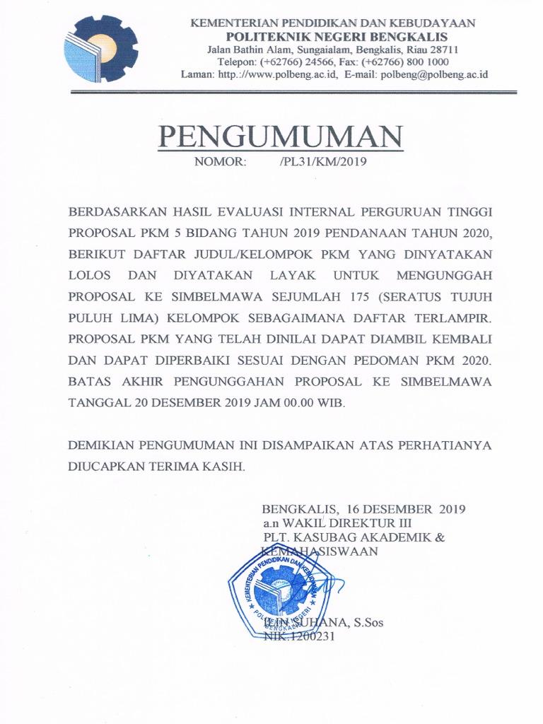 Pengumuman PKM Lima Bidang Tahun 20 Pendanaan 20   PDF