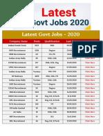 Latest Govt Jobs 2020