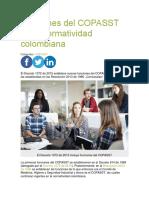 Funciones del COPASST en la normatividad colombiana