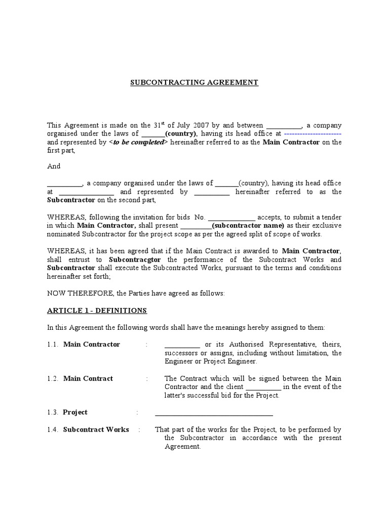 Subcontracting agreement nominated subcontractor guarantee subcontracting agreement nominated subcontractor guarantee general contractor platinumwayz