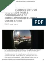Estados Unidos Recibió Más Casos de Covid-19 de Europa Que China