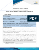 Syllabus del curso Automatas y Lenguajes Formales