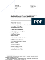 Neurocomportamento - 400 alunos Portugal - 12 Tipos de Testes - 9 Anos duração - Estudo Neurocomportmental Castro Caldas, 2010