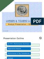 L&TAnalyst Presentation-Q1 FY11