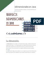 Arreglos bidimensionales en Java