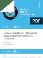 Línea de crédito del BNA para la adquisición de motocicletas nacionales.