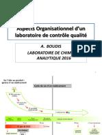 Aspects Organisationnel d'un laboratoire de contrôle  qualité