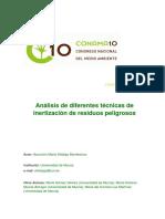 Análisis de Diferentes Técnicas de Inertización de Residuos Peligrosos, Del Autor Hidalgo, Gómez, Murcia y Lax