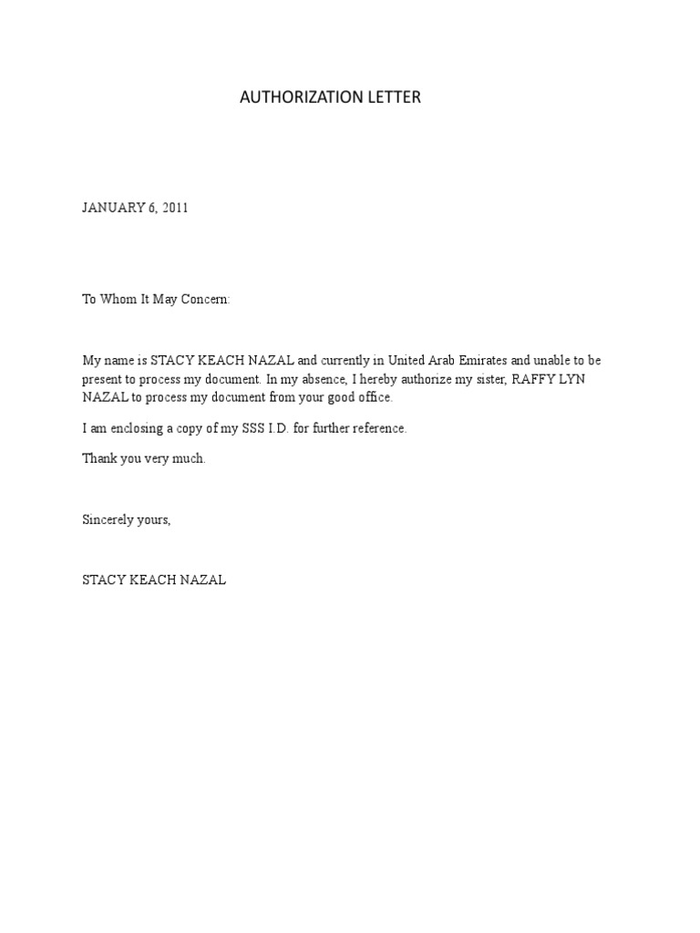 Authorization Letter to pick up – Sample Letter of Authorization